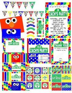 Sesame Street inspired party with customization  by 2fungraphics, $12.00