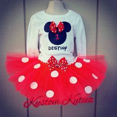 Red Minnie Mouse Birthday Outfit , Minnie Mouse Tutu Set , First Birthday Outfit on Etsy, $39.00