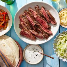 Steak, Pepper, & Onion Fajitas with Tangy Slaw