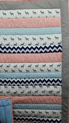 Baby Girl Deer Quilt/ Minky Backing by ohSEWcuddly on Etsy