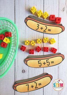 Hot Dog Addition Cards - The Stem Laboratory Kindergarten Morning Work, Kindergarten Math Activities, Homeschool Math, Homeschooling, Life Skills Classroom, Math Classroom, Classroom Ideas, Math For Kids, Fun Math