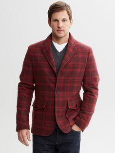 #BananaRepublic Red plaid wool jacket