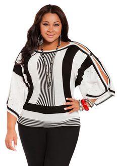 c8c44f96d Ashley Stewart Women s Plus Size Cold Shoulder Dolman Top - Plus Size  Sweaters - AshleyStewart.