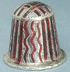 Vintage Enameled Sterling Silver Thimble India Mid 20th Century |