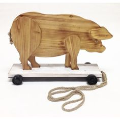 """Wilco Home Smokey Cabin """"Roller Skating Pig"""" Wood Pull Toy Statue Woodworking Projects For Kids, Popular Woodworking, Woodworking Furniture, Diy Woodworking, Nails Kylie Jenner, Wood Pig, Wood Animal, Pull Toy, Wood Plans"""