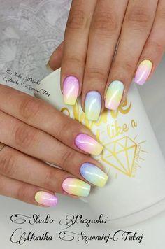 Pastel rainbow nails