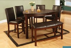 6 Pieces Triangle Counter Height Dining Set With Bench