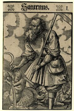 The planet Saturn is depicted as the Roman god Saturnus, holding his symbolic attributes, a sickle and scythe; at left, a half-human, half-fish figure pouring water from a vessel representing the zodiacal sign of Aquarius and a goat representing Capricorn (the signs are governed by Saturn); from a series of seven woodcuts in the school/style of Lucas Cranach the Younger, 1550–70. (British Museum)