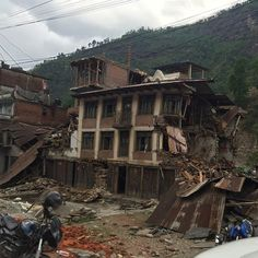 4/30/15 Bahrabise - approx 4km from Ghuskun 150429 Sindhupalchowk, Nepal. Houses collapsed or structurally unsound after being hit by a 7.8 Richter scale earthquake that left a death toll of more than 5000. #Nepal  #earthquake #nepalearthquakerelief