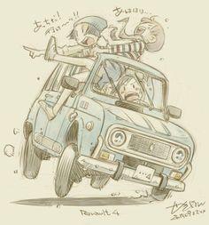 """せきはん@のーどうでいず1巻発売中! on Twitter: """"古いフランス車のコーナーリングのイメージ http://t.co/q299hLBhJH"""""""