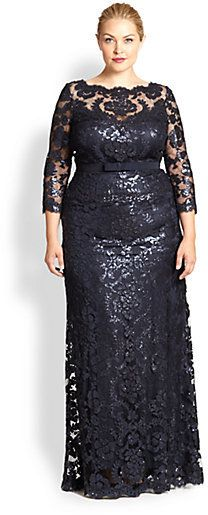 Tadashi Shoji, Sizes 14-24 Embroidered Lace Gown on shopstyle.com
