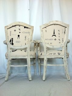 Pair of French Shabby Chic Dining Chairs by lemonAIDER on Etsy, $779.00