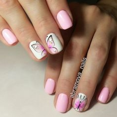 Butterfly nail art designs are loved by women because of its cute, colorful, beautiful patterns and symbolic significance, or simply because the design of butterfly nails has produced attractive effects on nails. Nail Art Design Gallery, Best Nail Art Designs, Spring Nails, Summer Nails, Cute Nails, Pretty Nails, Butterfly Nail Art, Butterfly Wings, Pink Butterfly