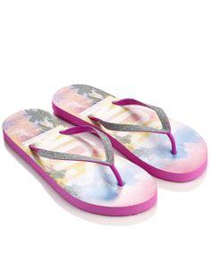 Glitter Sun Slogan Flip Flops   Pink   Accessorize