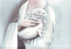 for sale original watercolor painting / white ferret / woman by HelgaMcL Watercolor Art Paintings, South African Artists, Hand Painted, White Ferret, The Originals, Hands, Ferrets, Animals, Ballerina