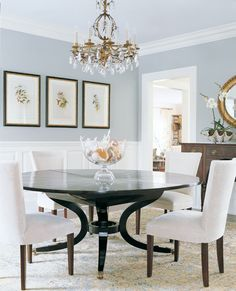 So I CAN mix black, white, and brown furniture in my dining room with grayish-blue! Yay! :)