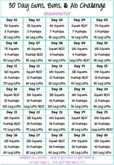 30 Day Arm Challenge Workouts - : 30 Days Guns,Buns and Ab Challenge. 30 Day Arm Challenge Workouts - : 30 Days Guns,Buns and Ab Challenge. Core Challenge, 30 Day Squat Challenge, Weight Loss Challenge, Pilates Workout, 7 Workout, Hiit, Strength Workout, Workout Routines, Ladies Workout