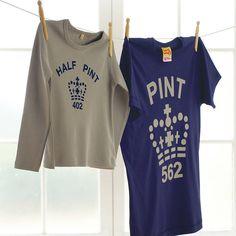 'pint' and 'half pint' t shirt set by twisted twee | notonthehighstreet.com