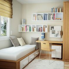 #KBHome teenage girl bedroom design idea with white bookshelf.