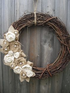 use red burlap  twig wreath