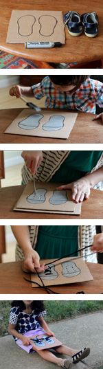 Great shoe tying practice board for kids!  Thanks PBS!