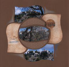 Page double réalisée avec le gabarit Alizé, aplat de page essentiel et naturel gaufré et pour le décor , j'ai coupé avec la big shot des ronds de Liège agrémenté d'un ruban et de figurine silhouette hirondelles embossées