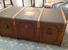 Great old trunk , great for storage and or a coffee table