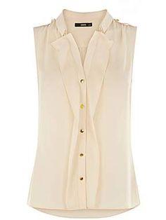 Oasis, Sleeveless 2 collar frill shirt, $45, #HouseOfFraser