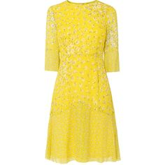 L.K. Bennett Ros Yellow Silk Dress ($360) ❤ liked on Polyvore featuring dresses, day summer dresses, floral print dress, floral summer dresses, floral dresses and yellow fitted dress