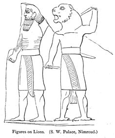 Figures on Lions (S.W. Palace, Nimroud) [p.250]