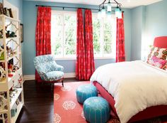 S Rooms Madeline Weinrib Atelier Red Mandala Rug Moroccan Leather Pouf Turquoise Blue Bed D Thomas Paul Flock