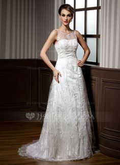 Wedding Dresses - $196.99 - A-Line/Princess Scoop Neck Sweep Train Satin Tulle Wedding Dress With Lace Beadwork (002011451) http://jjshouse.com/A-Line-Princess-Scoop-Neck-Sweep-Train-Satin-Tulle-Wedding-Dress-With-Lace-Beadwork-002011451-g11451