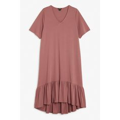 Monki T-shirt dress ($30) ❤ liked on Polyvore featuring dresses, terra plum, flounce dress, flutter-sleeve dress, oversized t shirt dress, v neck t shirt dress and red dress