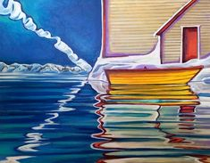 The Rock painting by Newfoundland artist Adam Young Framed Canvas Prints, Canvas Frame, Newfoundland Flag, Adam Young, Young Art, Flag Art, Canadian Art, 5d Diamond Painting, Canada