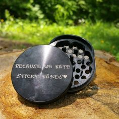 Black Multi-Tooth Custom Herb Grinder. Laser engraved with personalized message. To create your own visit us at customherbgrinders.com