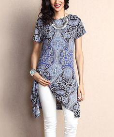 Loving this Blue Paisley Sidetail Tunic on #zulily! #zulilyfinds