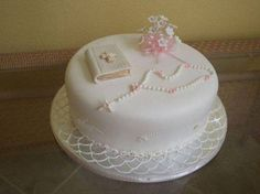 First communion for a 9 yr girl. Decorated in fondant,… First communion for a 9 yr girl. Decorated in fondant,… Comunion Cakes, Bible Cake, First Holy Communion Cake, Religious Cakes, Confirmation Cakes, Baptism Cakes, Fondant Cakes, Cupcake Cakes, Girl Cakes