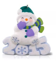 2015 frosty fun decade sparkly snowman hallmark keepsake series ornament