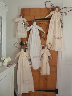 handmade Christmas angels - antique baby gowns