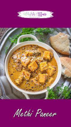 Paneer Curry Recipes, Methi Recipes, Veg Recipes, Spicy Recipes, Cooking Recipes, Paneer Korma Recipe, Paneer Recipe Video, Amish Recipes, Dutch Recipes