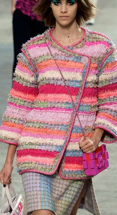 Chanel jacket: inspiration only. Sorry, no pattern, but could use any short jacket crochet pattern and follow the colors in the Channel version.
