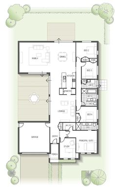 floor plan - Kamala 1832 From the Arise Collection House Layout Plans, New House Plans, Dream House Plans, Modern House Plans, House Layouts, Small House Plans, Modern House Design, House Floor Plans, Courtyard House Plans
