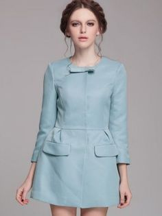 Winter Fall Concealed Button Bow Round Neck Long Coats