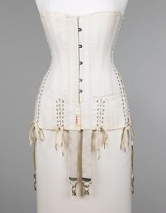 CorsetManufacturer: H & W Company Date: 1915 Culture: American Medium: cotton, bone, metal, elastic Dimensions: Length at CF (a): 25 in. (63.5 cm) Credit Line: Brooklyn Museum Costume Collection at The Metropolitan Museum of Art, Gift of the Brooklyn Museum, 2009; Gift of E. A. Meister, 1950 Accession Number: 2009.300.2760a–f metmuseum.org