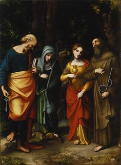 Saints Peter, Martha, Mary Magdalene, and Leonard, ca. 1514–16  Correggio (Antonio Allegri) (Italian, Parma, active by 1514, died 1534)  Oil on canvas    The emblems of the saints are keys (for Peter), a dragon (for Martha), a pot of ointment (for the Magdalene), and fetters (for Leonard). The composition reflects the influence of Raphael's Saint Cecilia at Bologna (about 1514).