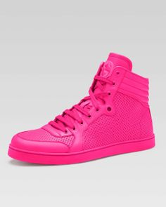 5a954516f6 Gucci - Coda Neon Leather High-Top Sneaker