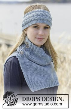 "Set consisting of head band and neck warmer in garter st with cables in ""Big Merino"". #knitting by #DROPSDesign"