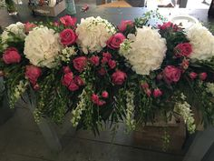 Hot pink Roses and white Hydrangea top table wedding display. www.thefloralartstudio.co.uk