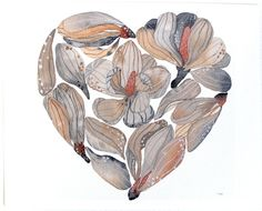 Painting  Flower Heart Watercolor  Large Archival Art by RiverLuna, $40.00