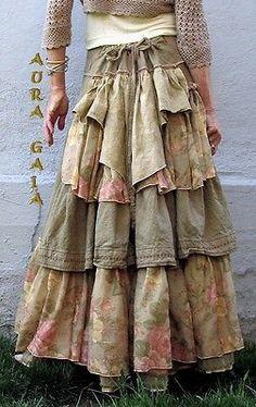 AuraGaia ~Flidais~ Poorgirl BoHo Bustleback OverDyed Upcycled Skirt S-XL